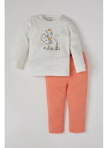 DeFacto Kız Bebek Sevimli Fil Baskılı Pijama Takımı Bej